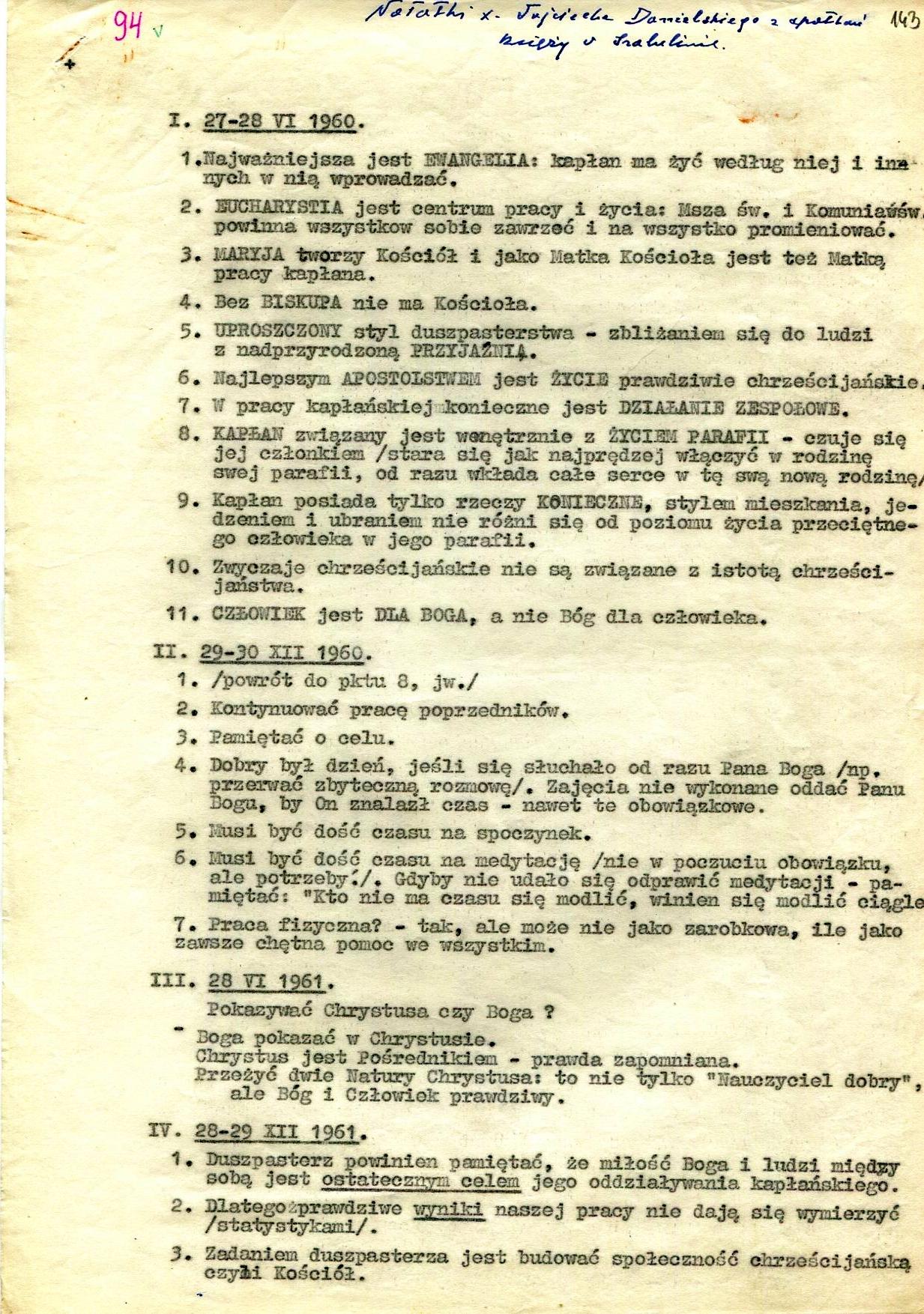 Ks. Wojciech Danielski - Notaki ze spotkań księży w Izabelinie, 1960-1964
